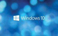 Windows 10 text logo over the blue bokeh wallpaper 1920x1200 jpg