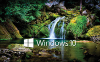 Windows 10 white text logo over the waterfall wallpaper 2560x1600 jpg