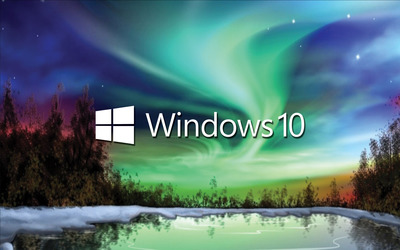 Windows 10 white text logo on the northern lights wallpaper