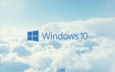 Windows 10 blue text logo in the clouds wallpaper
