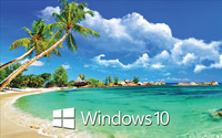 Windows 10 text logo on a tropical beach wallpaper 2560x1600 jpg