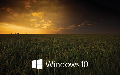 Windows 10 white text logo on the dark field wallpaper