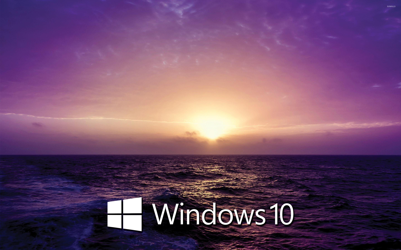 Windows 10 text logo on the purple sunset wallpaper for Window 10 wallpaper