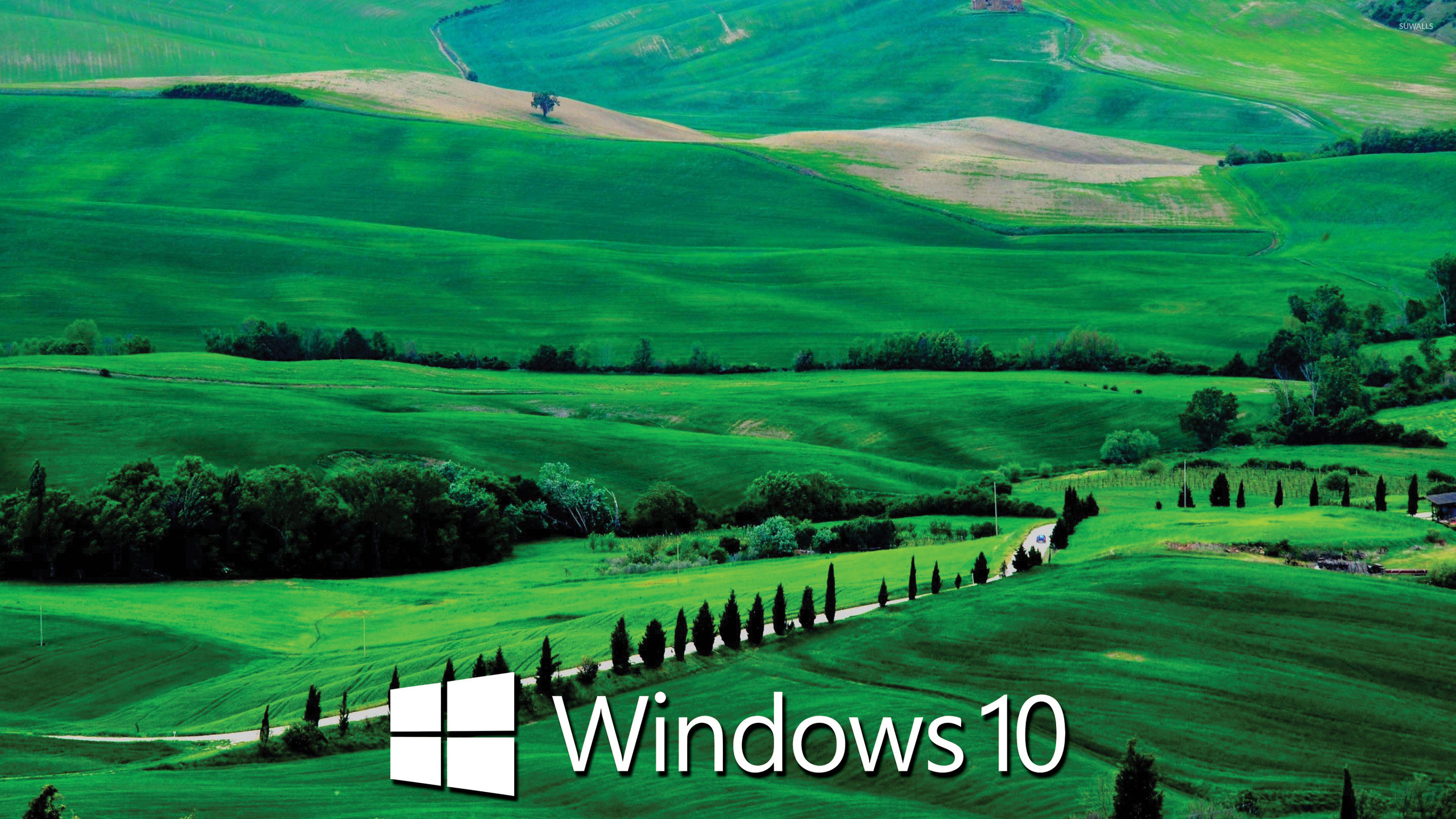 Windows 10 text logo on the green hills wallpaper ...