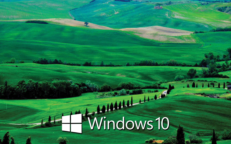 windows 10 text logo on the green hills wallpaper