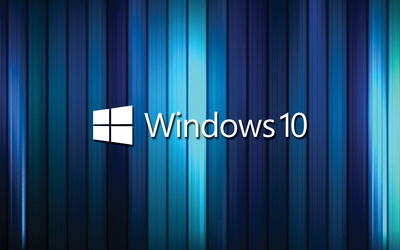Windows 10 text logo on blue stripes wallpaper