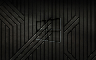 Windows 10 transparent logo on black metal sripes wallpaper