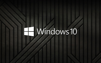 Windows 10 text logo on black metal stripes wallpaper