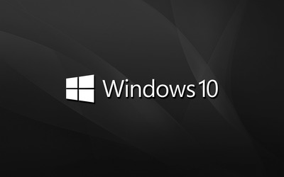 Windows 10 text logo on black waves wallpaper
