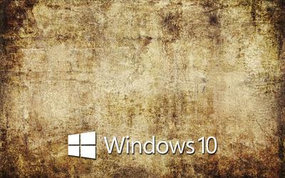 Windows 10 text logo on old concrete wallpaper