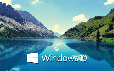Windows 10 text logo on the mountain lake wallpaper