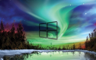 Windows 10 transparent logo on the northern lights wallpaper