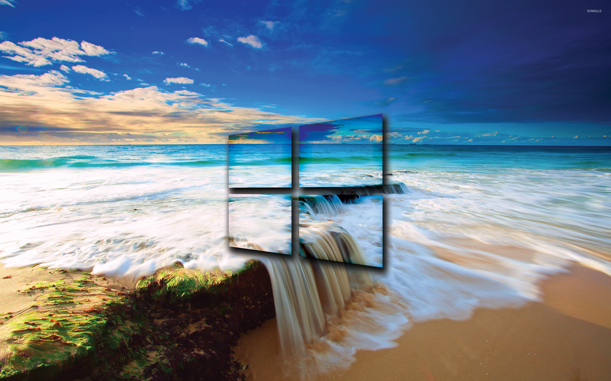 Windows  Transparent Logo On The Golden Beach Wallpaper