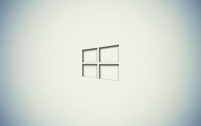 Windows 10 transparent logo on a white wall wallpaper