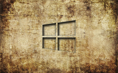 Windows 10 transparent logo on old concrete wallpaper