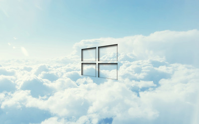 Windows 10 transparent logo in the clouds wallpaper