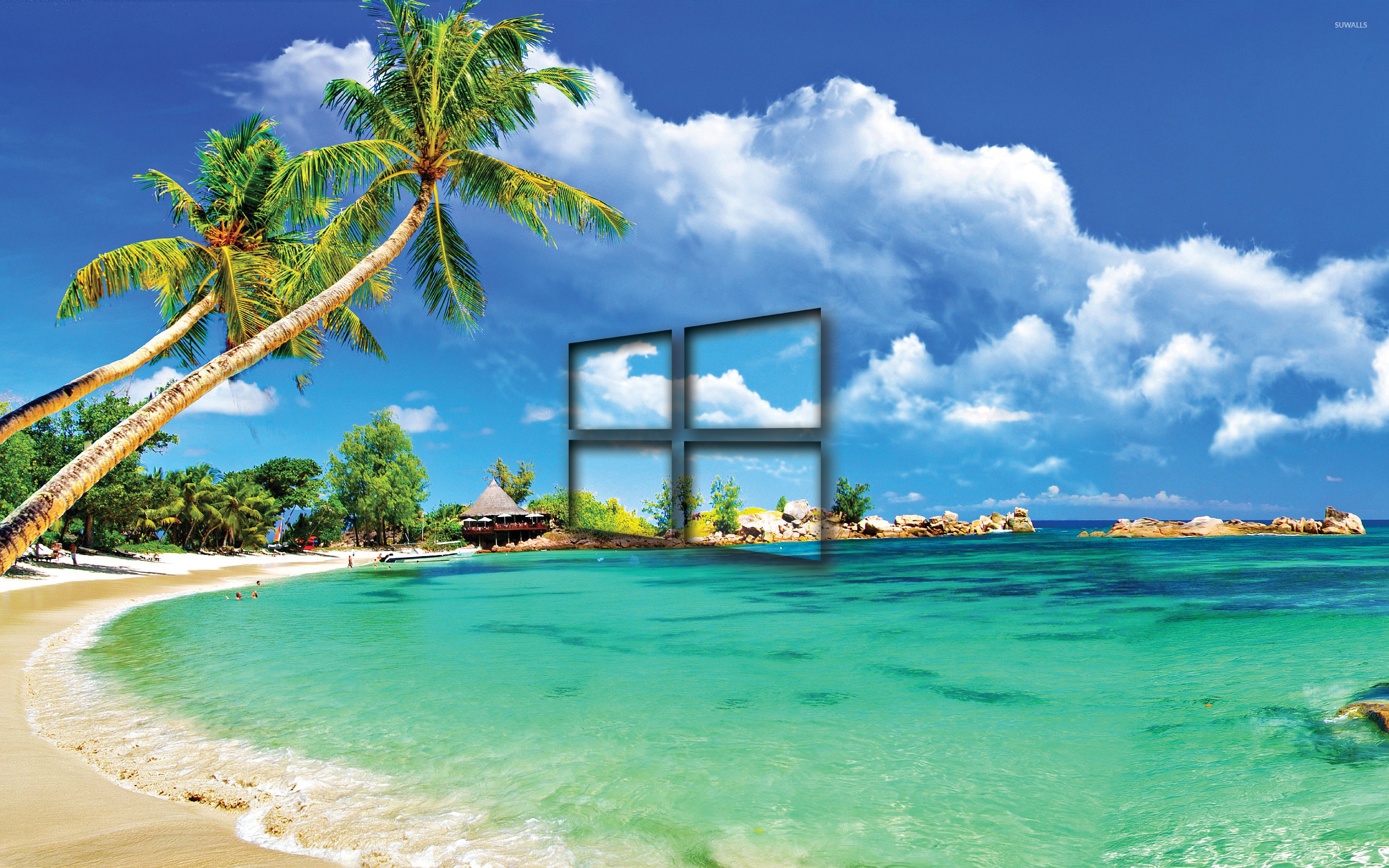 Windows 10 Transparent Logo On A Tropical Beach Wallpaper Computer Wallpapers 46335