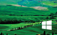 Windows 10 white simple logo over the green hills wallpaper 2880x1800 jpg