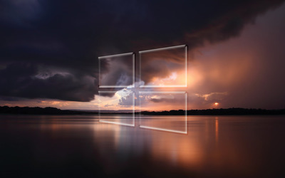 Windows 10 transparent logo over the stormy sea wallpaper