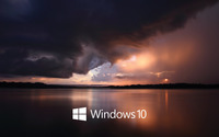 Windows 10 white text logo over the stormy sea wallpaper 3840x2160 jpg