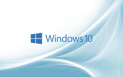 Windows 10 blue text logo on light blue curves wallpaper