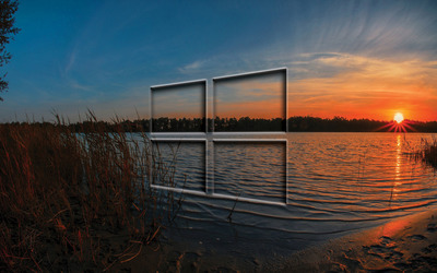 Windows 10 transparent logo in the sunset wallpaper