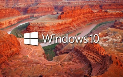 Windows 10 in the canyon white text logo wallpaper