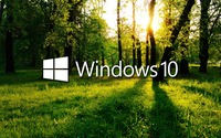 Windows 10 in the green forest white logo with text wallpaper 1920x1080 jpg