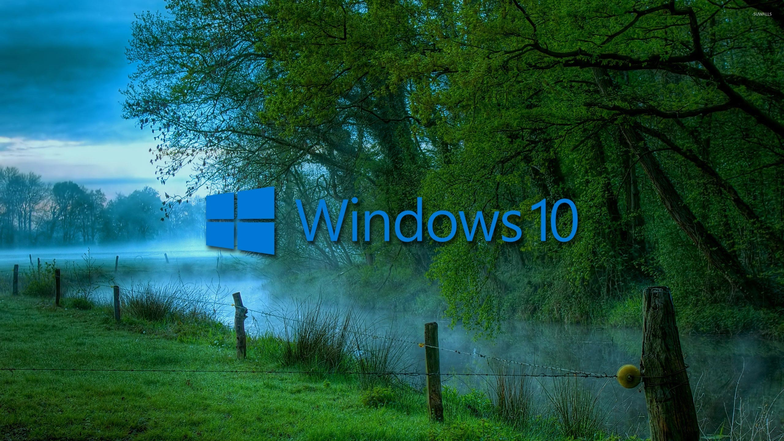 Windows 10 In The Misty Morning Blue Text Logo Wallpaper