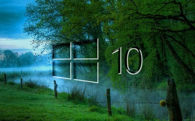 Windows 10 in the misty morning glass logo wallpaper