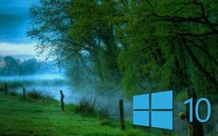 Windows 10 in the misty morning blue logo wallpaper 2560x1440 jpg