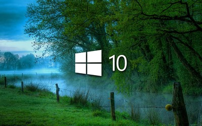 Windows 10 in the misty morning small logo wallpaper