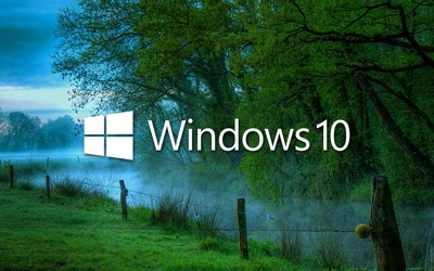 Windows 10 in the misty morning logo with text wallpaper