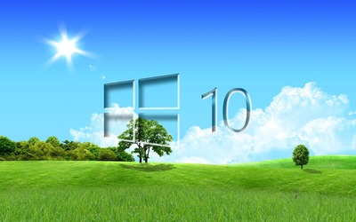 Windows 10 in the spring glass logo wallpaper