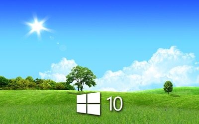 Windows 10 in the spring simple logo wallpaper