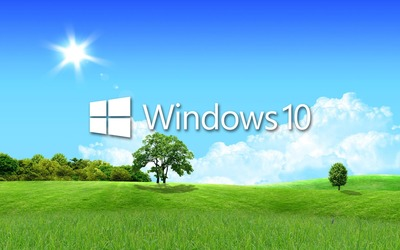 Windows 10 in the spring white text logo wallpaper