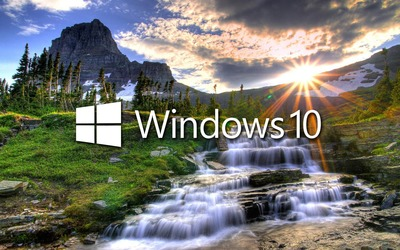 Windows 10 in the stream text logo wallpaper