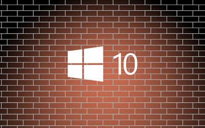 Windows 10 simple logo on a brick wall wallpaper