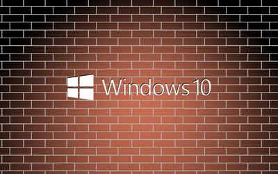 Windows 10 white text logo on a brick wall wallpaper