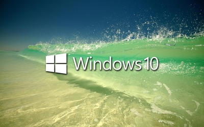 Windows 10 on a clear wave text logo wallpaper