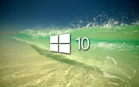 Windows 10 on a clear wave simple white logo wallpaper 1920x1200 jpg