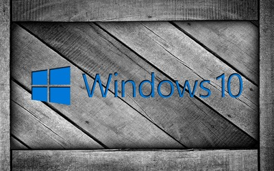 Windows 10 on a gray wooden crate [2] wallpaper