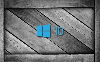 Windows 10 on a gray wooden crate [4] wallpaper
