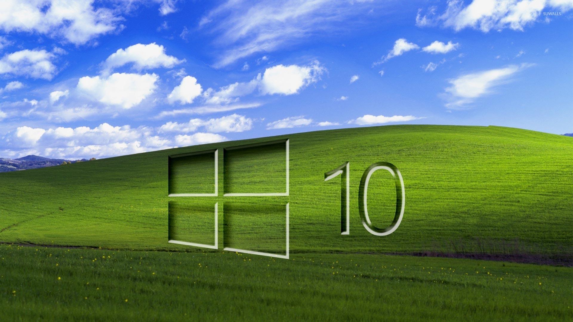 Windows 10 On A Green Field Glass Logo Wallpaper Computer