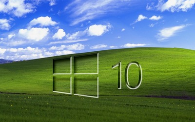 Windows 10 on a green field glass logo wallpaper