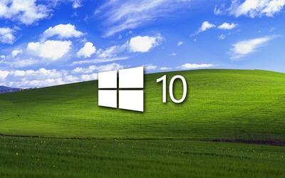 Windows 10 on a green field simple logo wallpaper