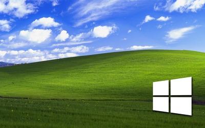 Windows 10 on a green field simple white logo wallpaper
