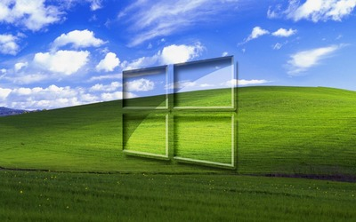 Windows 10 on a green field simple glass logo wallpaper