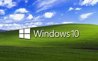 Windows 10 on a green field white text logo wallpaper 1920x1080 jpg