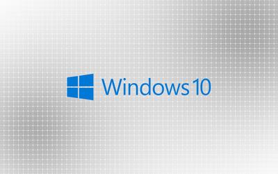 Windows 10 blue text logo on a light grid wallpaper